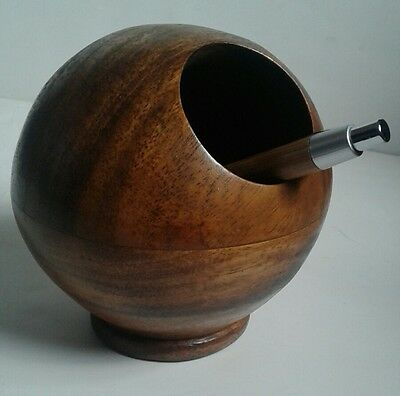 Mid Century Modern Teak or Walnut Planter Pen Holder Danish Style Orb Globe