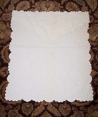 Lot of 4 Antique Vintage Baby Linens Pillowcases and Coverlet