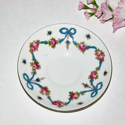 VINTAGE HAND PAINTED SAUCER FINE BONE CHINA CROWN STAFFORDSHIRE ENGLAND no cup
