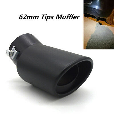 62mm DIY Titanium Black Bend Car Exhaust Muffler Tail Pipe End Throat Tip Cover