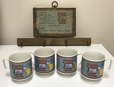 Maxwell House 6oz Pedestal Coffee Cup Bone China Set of 4 w/ Wooden Wall Rack