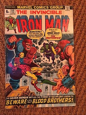Iron Man No 55 First Appearance of Thanos & Drax of Guardians of Galaxy. VG-