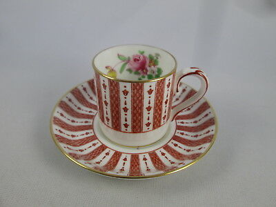 Crown Staffordshire England Red Striped Rose Demitasse Cup & Saucer Bone China