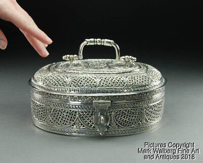 India Silver Pierced Mughal Potpourri Box with Lattice & Floral Design, 19th C.