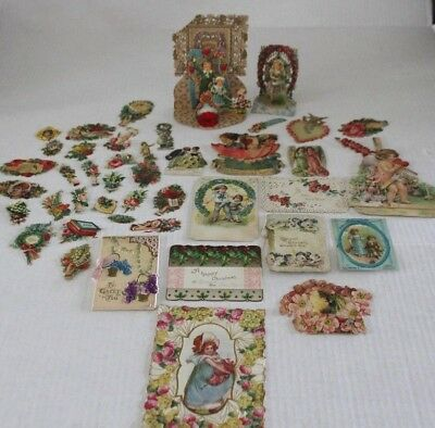 Vintage Antique stand up Germany mechanical Valentine cards die cut lot crafts