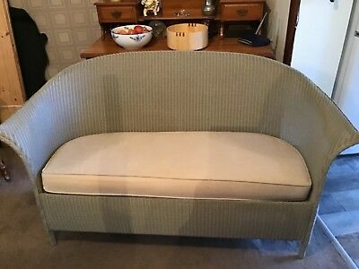 Lloyd loom settee light green with beige seat pad, genuine Lloyd loom