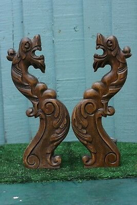 SUPERB PAIR 19thC GOTHIC ARCHITECTURAL WOODEN OAK GARGOYLES WITH LEAVES c1880s