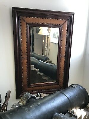 Large Leather & Wood Mirror.