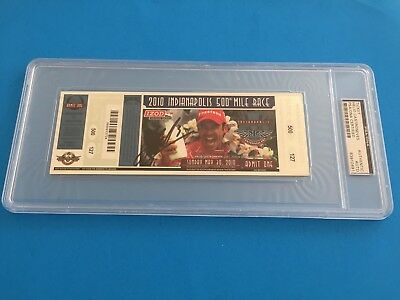 Helio Castroneves 2010 Indy 500 Ticket Signed Auto PSA/DNA SLABBED