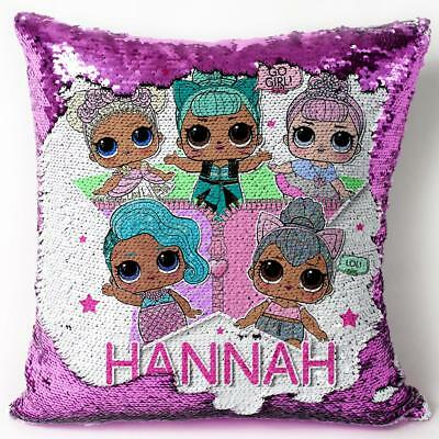 PERSONALISED Lol Dolls Suprise Sequin Cushion Cover Magic Reveal Christmas Gift