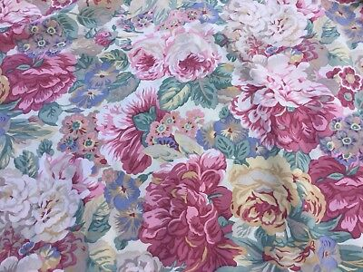Vintage Sanderson Roses And Peony Double Bed Duvet Cover Floral Chintz Fabric