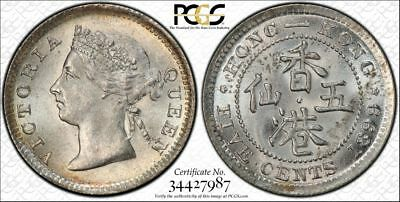 ☆GEM UNC☆ 1899 SILVER HONG KONG 5 Five Cents PCGS MS 65  CHINA Silver Victoria