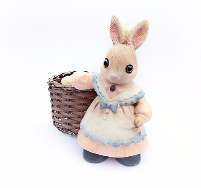 Vintage Mother Bunny with attached Woven Basket Made in Japan 1960's Era