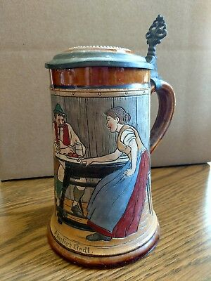 "Antique JWR German Stein repaired, "" A Cheerful Song"" #730"