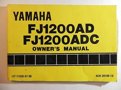 1992 Yamaha Fj1200 Fj1200ad Fj1200adc Owners Manual Lit 11626