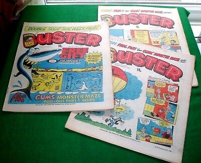 GUMS THE SHARK MONSTER MAZE GAME   INTACT IN  BUSTER 3x COMICS 1981