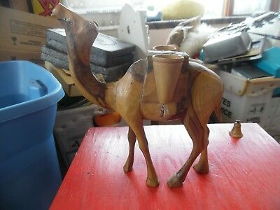 Vintage  wood carved camel  figure with 2 buckets-baskets  on side