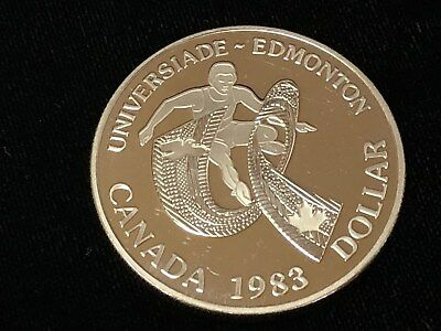1983 Canada Dollar, Edmonton University Games .5000 Silver .3750 oz ASW Proof