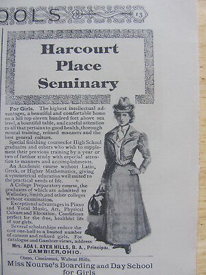 1900  Harcourt Place Seminary For Girls  AD    Gambier, OH.