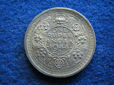 1944 British India Silver Rupee - Lustrous Uncirculated - Free U S Shipping