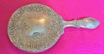 Bargain! Metal, Silver colour, heavy, beautifully decorated hand mirror, antique