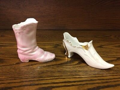 Vintage white porcelain shoe with gold trim and pink boot both made in Germany