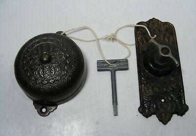 "Antique Ornate Mechanical Doorbell with ""Turn"" Twist  pat. 1899 Works Fine"