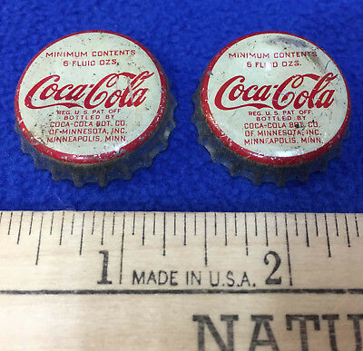 Vintage Coca Cola Bottle Caps Coke Metal Cork Minneapolis MN Co Pair