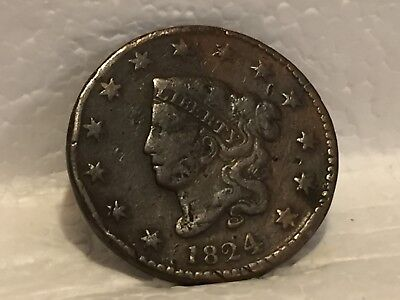 1824 Large Cent Better-Date 1824 Coronet Head Type U.S. Lg 1c NO RESERVE! + FS!