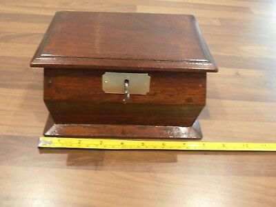 Antique Mahogany Lockable Money/alms box with key