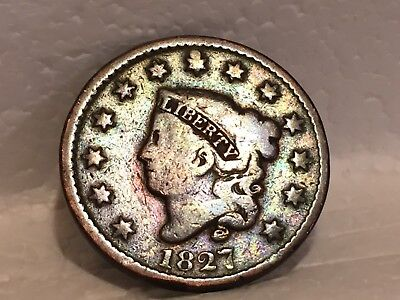 1827 Large Cent Better-Date 1827 Coronet Head Type U.S. Lg 1c NO RESERVE! + FS!