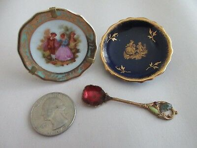 Vintage MINIATURE plates and miniature enameled spoon LIMOGES porcelain plates
