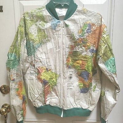 Rare vintage wearin the world geographic world map jacket unique vintage 1980s wearin the world dupont tyvek jacket sz large rare time unisex gumiabroncs Image collections