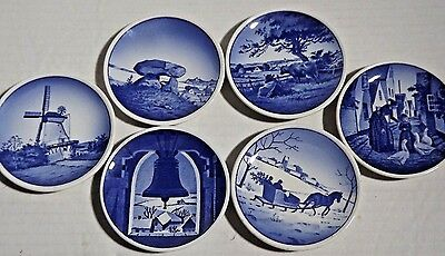 Lot Of 6 Mini Blue Delft Souvenir Wall Plate Made In Denmark BEEHIVE MARK