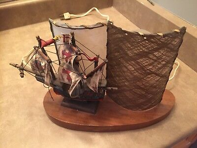 Mid Century Fibre Glass Pirates Ship Lamp