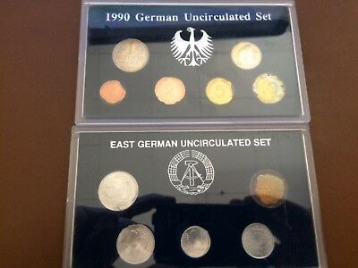 1990 German Uncirculated 6 Coin Set & 1989 East Germany Uncirculated 5 Coin Set