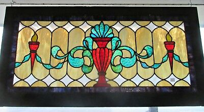 "Antique Victorian Stained Glass Window Urn Ribbons 46""W"