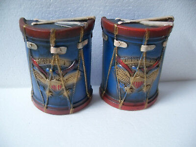 Vintage Chalkware Lego Revolutionary Colonial Blue Eagle Drum Bookends ~ Japan