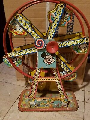 Super Rare Vintage Disneyland  J. Chein Tin Wind-Up Ferris Wheel