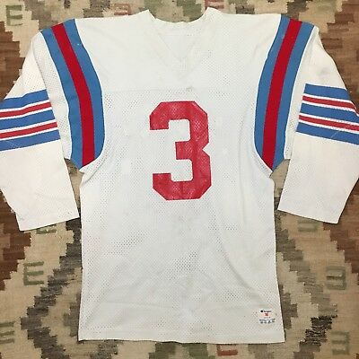 #3 VINTAGE 70s CHAMPION sz M red white blue USA mesh HS FOOTBALL practice JERSEY