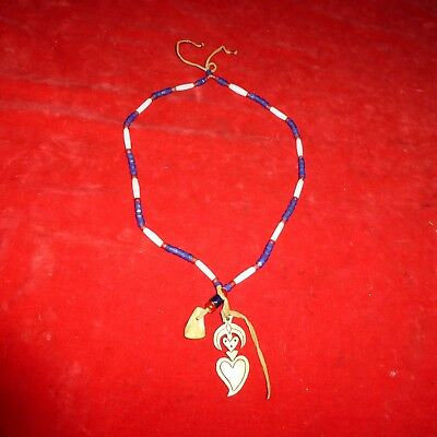 Rare Ca1800 Native American Indian / Elk Tooth -Bone Pendent Glass Bead Necklace