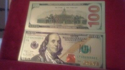 (Amazing Looking)NEW GOLDEN $100 23 kt. Gold Plated