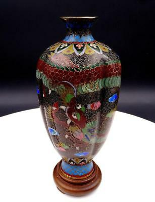 "Chinese Brass Antique Cloisonne Style Red Dragon Black Ribbed 6 7/8"" Vase & Base"