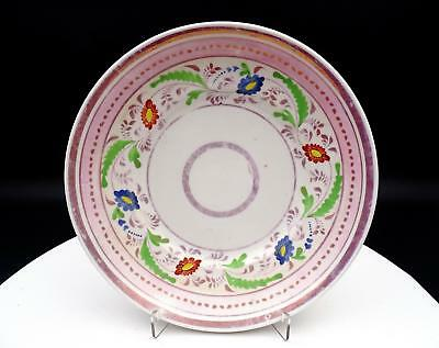 """Old Paris Antique Blue And Green Floral Pink Luster 8 1/2"""" Plate"""
