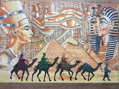 ANCIENT EGYPTIAN PAPER PAPYRUS Egypt Art Tutankhamun and Nefertiti
