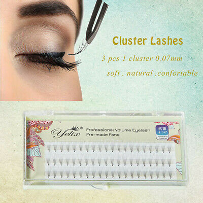 Individual False Eye Lashes 3D Wave Mink 0.07 C Black Silk Eyelashes Extension