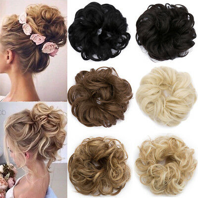 Real Messy Hair Extensions Scrunchies Updo Cover Natural Buns for Wedding Party