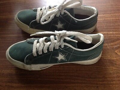 Vintage Converse One Star Made In USA Green canvas Men's Boy's Size 5 1/2