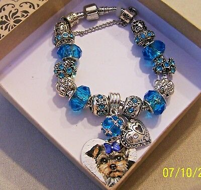 hand painted Yorkie silver tone crystal charm bracelet- love forever-  turn over