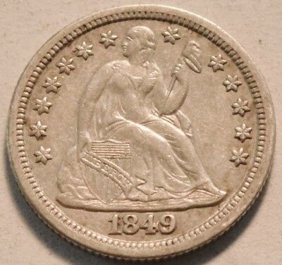 1849 Seated Liberty Dime, Higher Grade Silver 10C, Scarce Type Coin One Dime